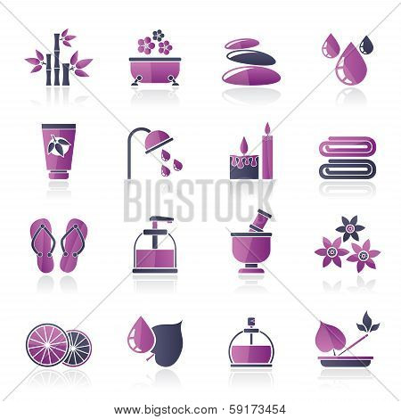 Spa and relax objects icons