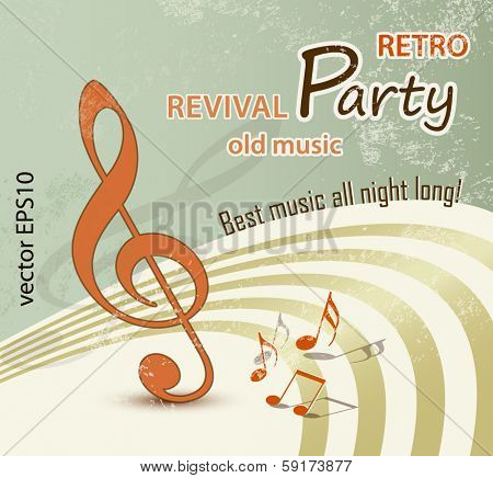 Retro music background - grunge party design - vintage poster art