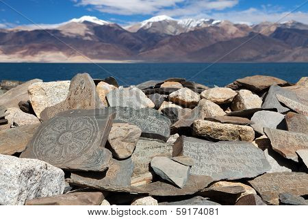 Mani Wall And Tso Moriri Lake - Rupshu Valley - Jammu And Kashmir - Ladakh - India