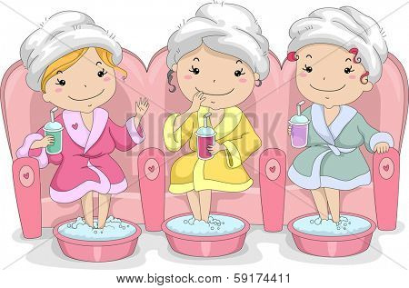 Illustration of a Group of Female Teenagers Enjoying a Day at the Spa