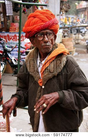 JODHPUR, INDIA - FEBRUARY 11: An unidentified man walks at Sadar Market on February 11, 2011 in Jodh