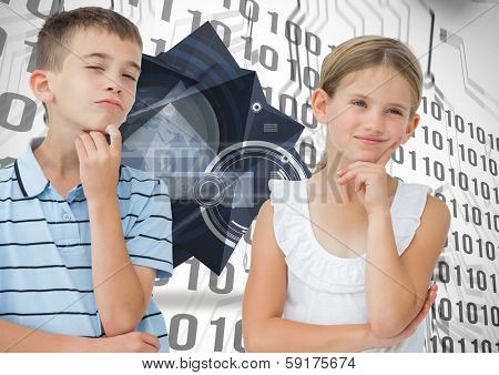 Thoughtful brother and sister posing together against binary code on circuit board