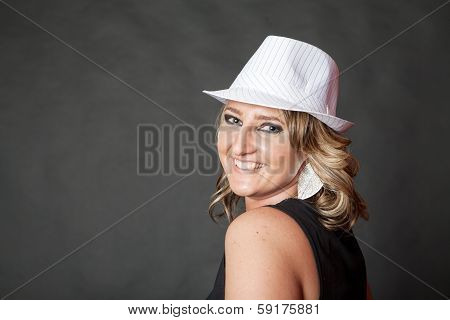 Friendly Smiling Young Adult Woman Wearing White Pinstripe Hat