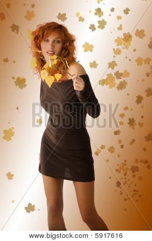 Brown Dress Yellow Leaves