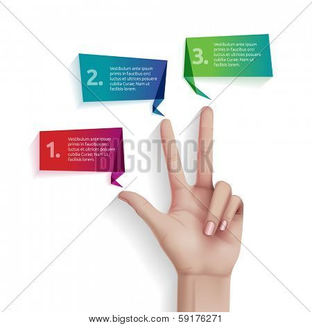 Three steps with hand, eps10 vector