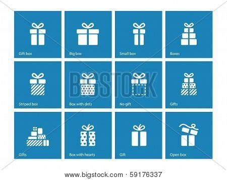 Gift box icons on blue background.