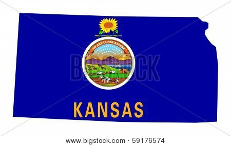 State of Kansas flag map isolated on a white background, U.S.A.