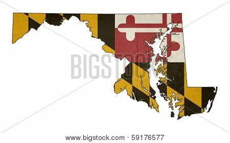 Grunge state of Maryland flag map isolated on a white background, U.S.A.