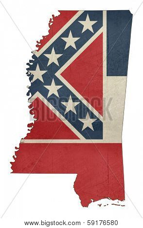 Grunge Mississippi flag map isolated on a white background, U.S.A.