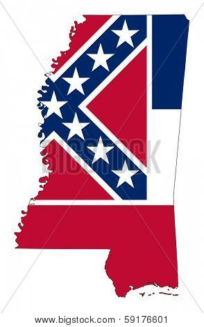 Mississippi flag map isolated on a white background, U.S.A.