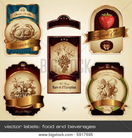 Vector conjunto de etiqueta: alimentos y bebidas
