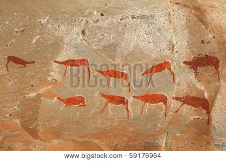Bushmen (san) rock painting of antelopes, Drakensberg mountains, South Africa