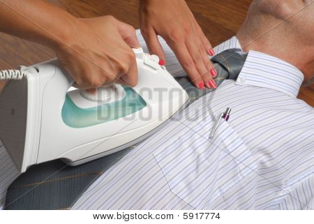 Ironing A Businessman