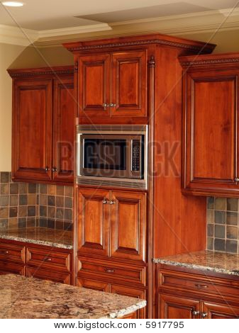 Luxury Home Dark Wood Kitchen Cabinets