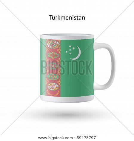 Turkmenistan flag souvenir mug on white background.