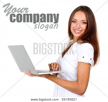 Young beautiful business woman with laptop isolated on white