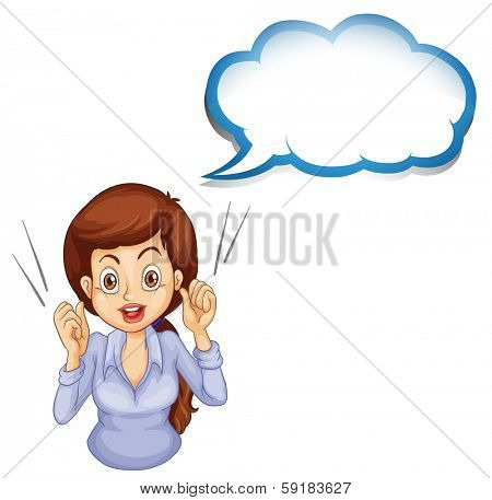 Illustration of a lady talking with an empty callout on a white background