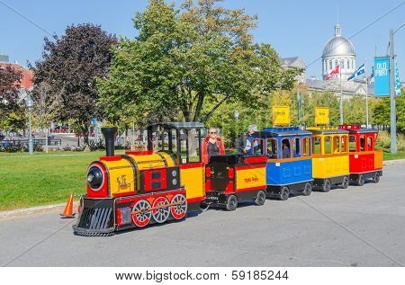MONTREAL, CANADA, OCTOBER 12, 2013 - Promenade du Vieux Port - train for children