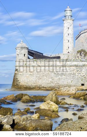The lighthouse and fortress of El Morro in Havana (long exposure with silky water)