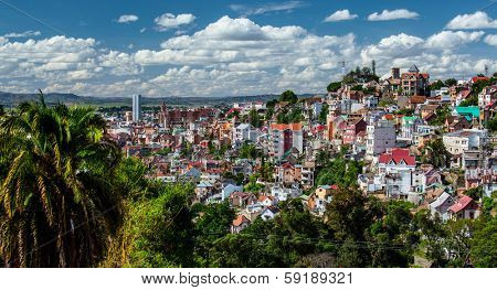 City of Antananarivo at sunny day with fluffy clouds in the sky. Madagascar