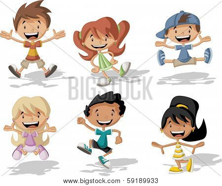 Group of happy cartoon children jumping