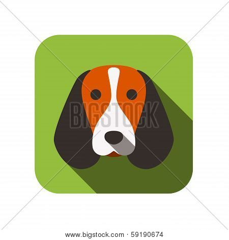 beagle dog face flat design
