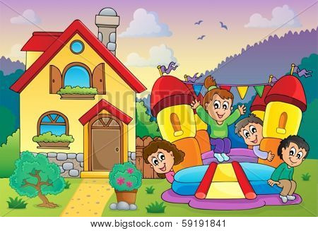 Children playing near house theme 3 - eps10 vector illustration.