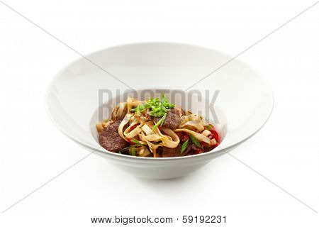 Japanese Cuisine - Udon (thick wheat noodles) with Lamb and Vegetables