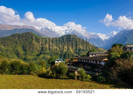 Ghandruk village and the Annapurna South and the Hiunchuli in the background, Nepal