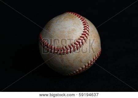 Worn Baseball with no logos isolated on black