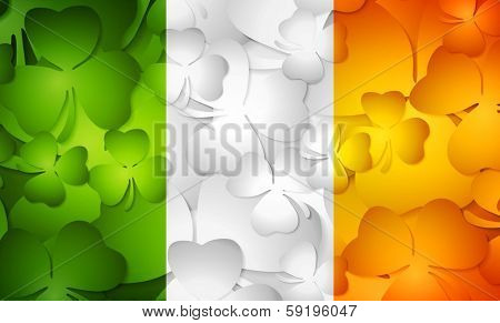 Irish flag made from shamrocks. Vector background