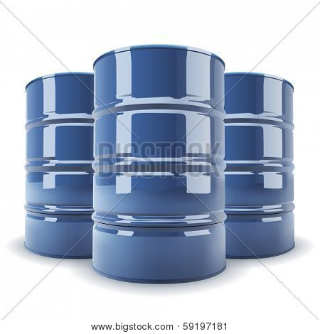 Group of 3 blue standard metal barrel isolated on white background.
