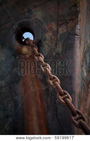 Prow Old Rusty Dark Ship With Anchor Chain