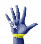 Open Hand Raised, Multi Purpose Concept, Curacao Flag Painted - Isolated On White Background