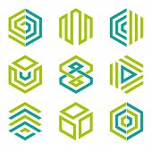 Hexagon shaped design elements 2. Abstract hexagonal vector symbols, lime green and teal.
