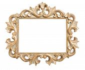 stock photo of oblong  - Ornate gold frame isolated on a white background - JPG