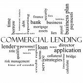 pic of lien  - Commercial Lending Word Cloud Concept in black and white with great terms such as loan fees business plan and more - JPG
