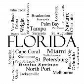 Florida State Word Cloud Concept In Black And White