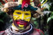 PAPUA NEW GUINEA - OCTOBER 30: The men of the Huli tribe in Tari area of Papua New Guinea in traditi