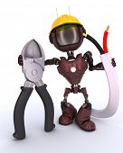 pic of wire cutter  - 3D Render of an android Builder with wire cutters - JPG