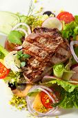 foto of rib eye steak  - Rib Eye Steak with  Vegetables - JPG
