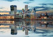 stock photo of london night  - London Skylines at dusk England UK at night - JPG