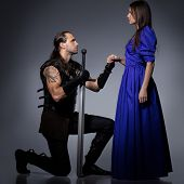 picture of longsword  - Beautiful couple with historical costumes - JPG