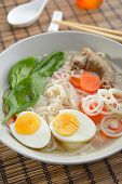 foto of duck egg blue  - Duck soup with rice pasta and vegetables - JPG