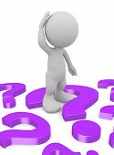 stock photo of scratching head  - 3d human scratching head with a question marks - JPG