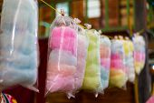stock photo of candy cotton  - the cotton candy in rainbow colours on background - JPG