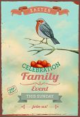 Vintage Easter Poster and Invitation - Easter themed poster, with colorful bird perched on a branch