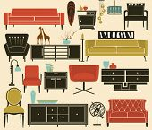 Retro Furniture and Home Accessories, including sofas, love seat, sofa tables, side tables, armchair
