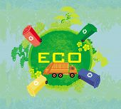 picture of segregation  - ecology card design segregation of garbage  - JPG