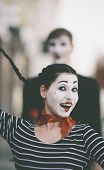 stock photo of clown rose  - happy couple selective focus on woman - JPG
